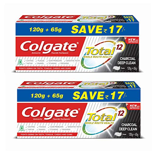 Colgate Total Whole Mouth Health, Charcoal Deep Clean Antibacterial Toothpaste, 370g (Pack of 2)