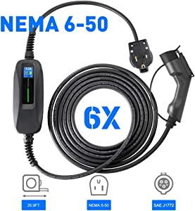 Morec EV Charger Level 2 32 Amp Upgraded Portable Electric Vehicle Charger, NEMA 6-50 220V-240V 26ft (7.9M) EV Charging Cable, SAE J1772 Compatible with Most Electric Cars