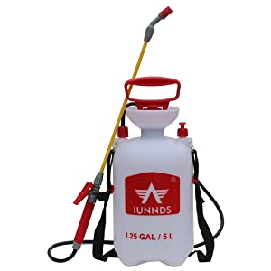 Sports God Lawn and Garden Pump Pressure Sprayer for Fertilizer, Herbicides, Pesticides, Mild Cleaning Solutions and Bleach (1.3 Gallon (5L))