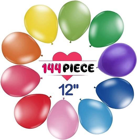 Amazon.com: Paquete de 144 globos de fiesta de 12 pulgadas ...