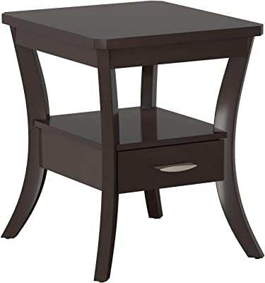 Coaster Occasional Group Transitional Espresso Flared Leg End Table with Drawer