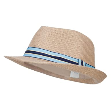 cbeee7129 Amazon.com: Jeanne Simmons Boy's Band Jute Fedora - Tan OSFM: Clothing