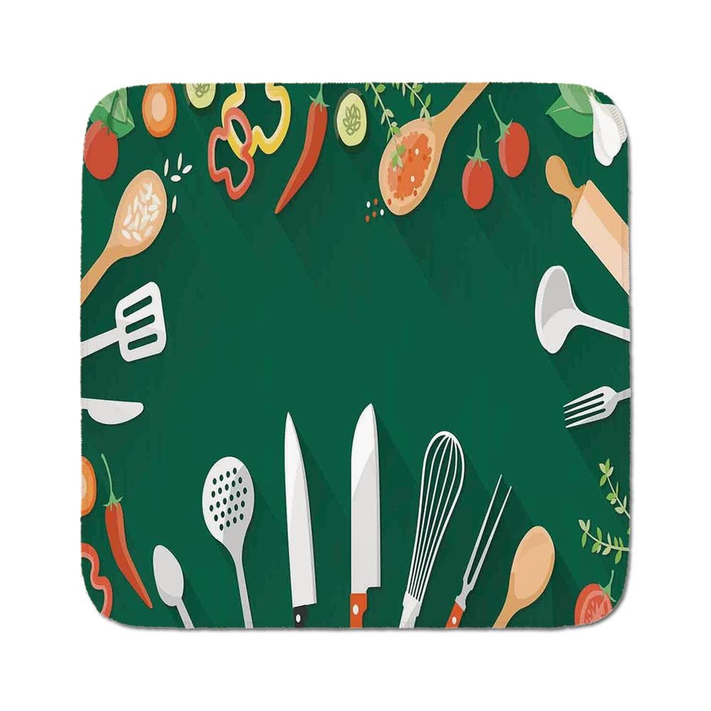 Cozy Seat Protector Pads Cushion Area Rug,Kitchen Decor,Kitchenware Utensils Vegetables Spices Cooking Creative Recipe Home and Cafe Design Print,Green Red,Easy to Use on Any Surface
