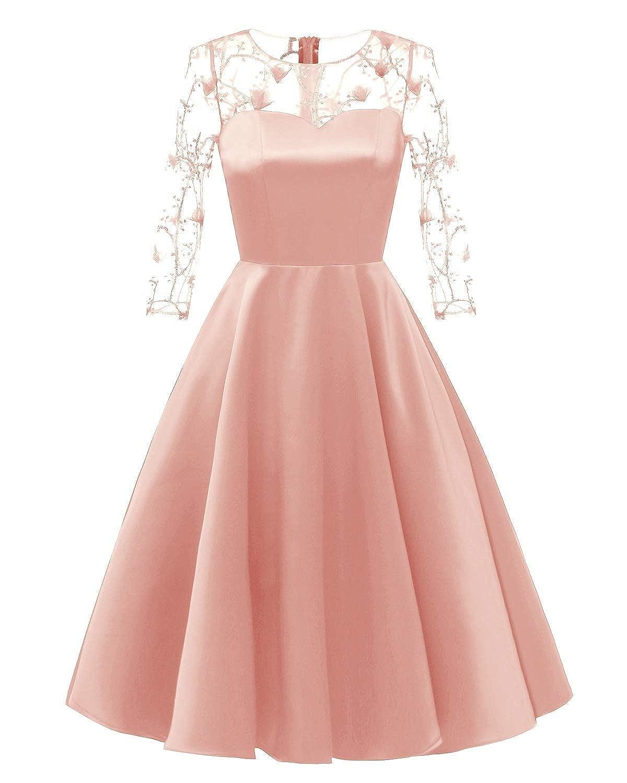 Pink Zooka Fashion Women Elegant Dresses Vintage Princess Floral Lace Cocktail Party Aline Swing