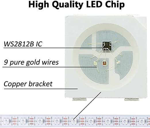 CHINLY WS2811 5m 100IC 300leds LED Pixel bande flexible individuellement adressable Led Dream Color IP67 /étanche DC12V blanc PCB