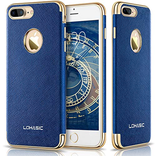 s Case, Premium Leather Slim Fit Protective Cover Luxury Non Slip Soft Grip Hybrid Flexible Bumper Shockproof Cases Compatible with iPhone 7 Plus - Ink Blue, 5.5
