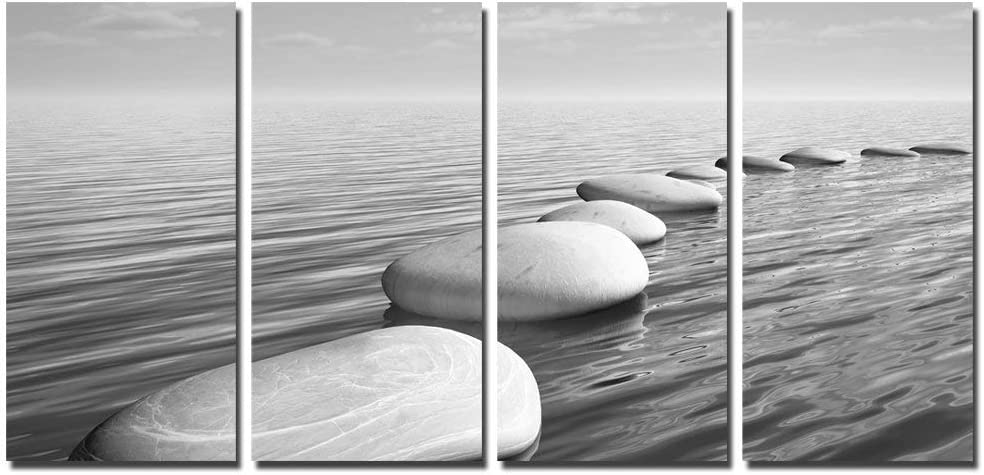 sechars - Zen Canvas Wall Art Peaceful Relaxing Grey Zen Stones Pictures Poster Wall Art for Living Room Bedroom Spa Yoga Room Wall Decoration Stretched on Wood Frame Ready to Hang