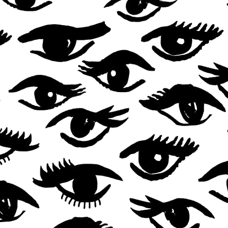 Eyes Fabric - Eyes Mascara Beauty Makeup Vintage Black and White Beauty Girly Print by andrea_lauren