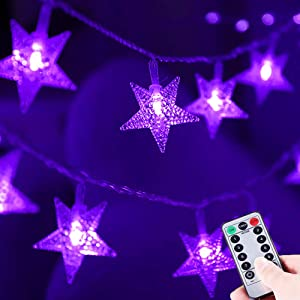 HUGSVIK 50 LED Purple Star Lights, 8 Modes Battery Operated Purple Christmas Lights, Waterproof Halloween Purple String Lights for Halloween Decor Xmas Tree Bedroom Kids Playhouse Camping Lights