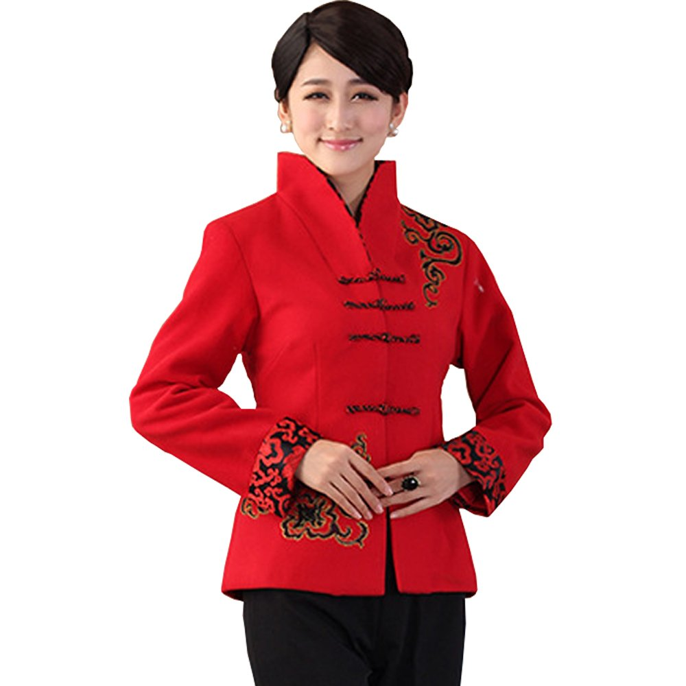 FangNer Women's Winter Chinese Style Tang Suit Long Sleeve Dust Coat Red