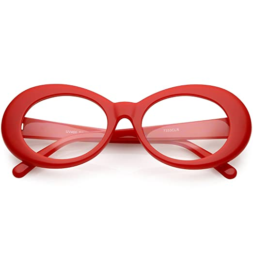 cae349e34c sunglassLA - Large Clout Goggles Thick Oval Eyeglasses Clear Lens 53mm (Red  Clear)