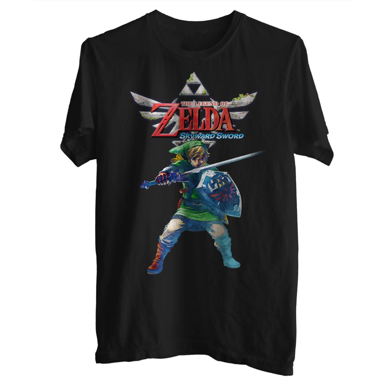 Legend Of Zelda Skyward Sword Link & Triforce Mens T-Shirt Black Small 2
