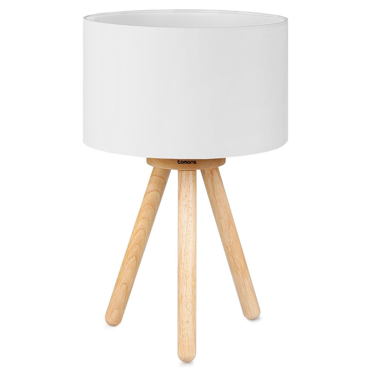 Tomons Wood Tripod Bedside Lamp, Simple Design with Soft Light for Bedroom Decorated in Warm and Cozy Ambience, Polyester White Fabric Lampshade, Packaged with 4W LED Bulb, Warm White Light, 39cm High
