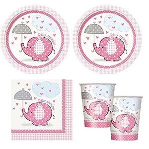pink Umbrellaphants girl babyshower Party Supplies - Plates, Napkins & cups