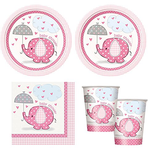 pink Umbrellaphants girl babyshower Party Supplies - Plates, Napkins & cups -