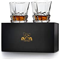 'Launceston' Whisky Glasses Set of 2. Ultra Clarity Glass Whiskey Tumblers (300ml) by Van Daemon for Liquor, Bourbon or Scotch. Perfectly Gift Boxed.