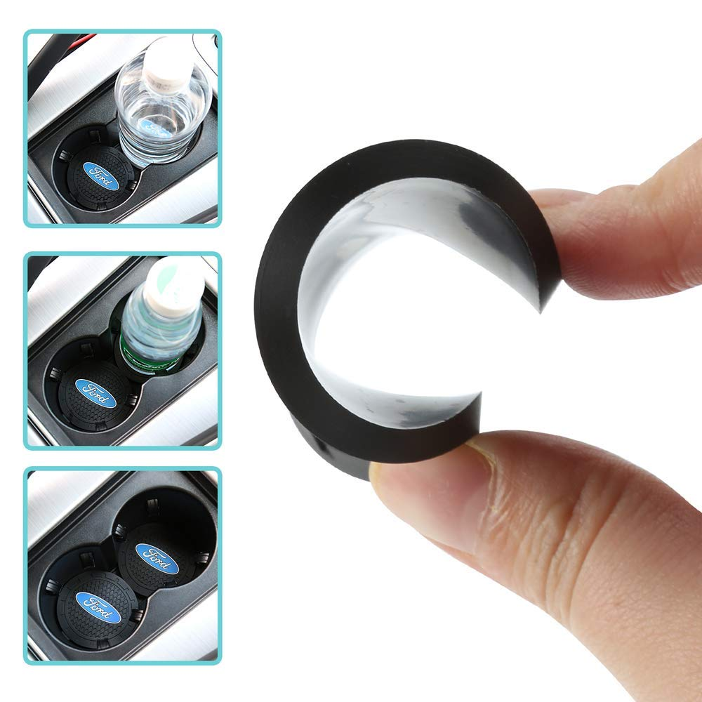 Cadillac Auto sport 2.75 Inch Diameter Oval Tough Car Logo Vehicle Travel Auto Cup Holder Insert Coaster Can 2 Pcs Pack