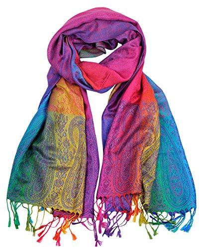 NYFASHION101 Elegant Colorful Paisley Soft Pashmina Scarf Shawl Wrap  NBH1401Y - Rainbow 08 76be907e2c95