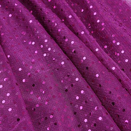 1592a86ff01f ... Tiaobug Damen Tanzrock Latein Rock Glänzende Polka Dots Asymmetrisch  Tellerrock Röckchen mit Glitzer Kostüm Festlich Faltenrock