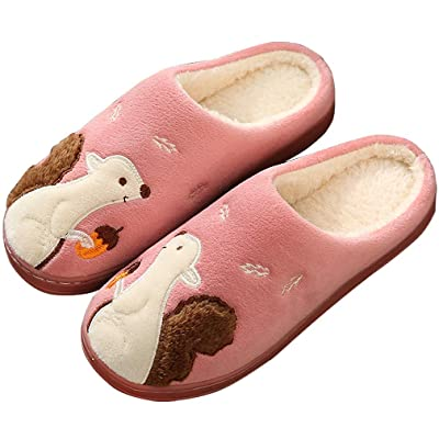 Amazon.com | ALOTUS Unisex Woolen Embroidered Cute Animal Squirrel Soft Warm Child Slippers Indoor Anti-Skid | Slippers
