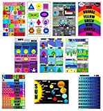 Laminated Classroom Posters for Kids and Toddlers | Educational Posters -Set of 10 Includes|ABC-Colors-Shapes-Health-Solar System-Math Number 1-10 & 1-100-Days of The Week-Months-Seasons|Size 13''x19''