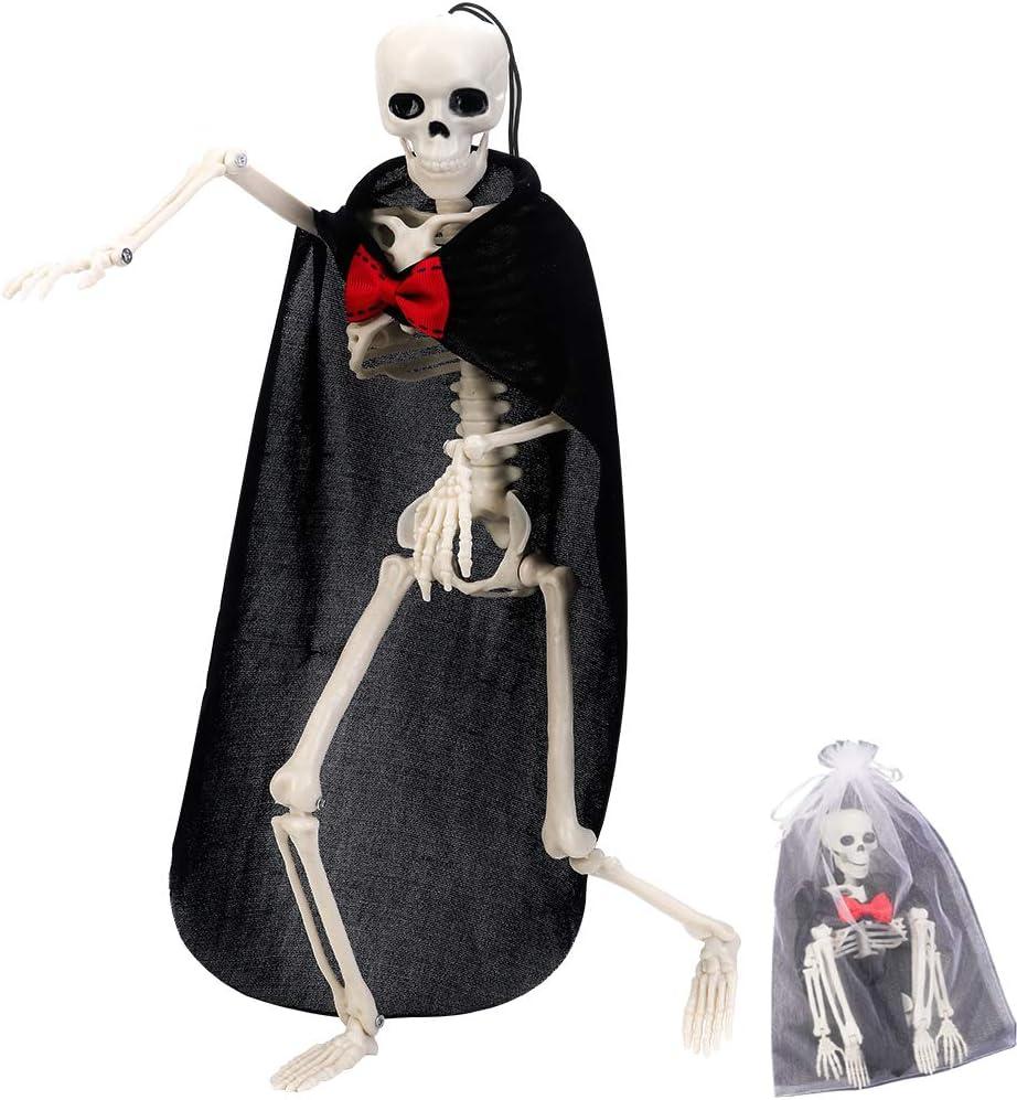 Esqueleto Halloween, Cuerpo Completo Poseable Esqueleto con Articulaciones Móviles, Ropa y Cuerdas Colgantes para Halloween Decoracion, Esqueleto Juguete, Prop Fiesta, Huesos del Cementerio (Novio)