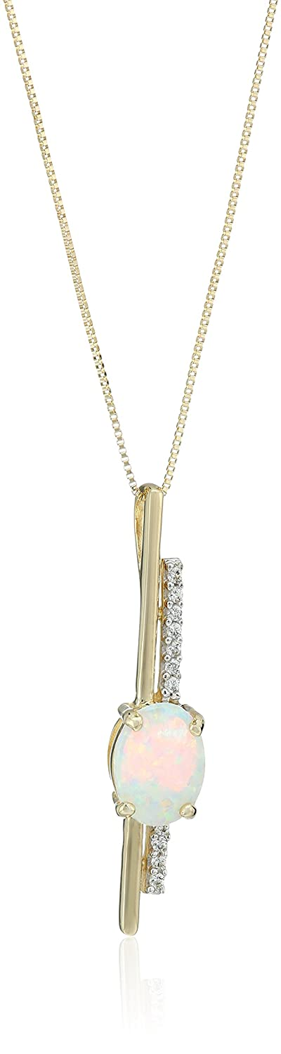 10k Yellow Gold Vertical Bar with Created Opal and Created White Sapphire Pendant Necklace, 18""