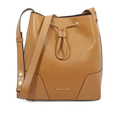 b7d6a4d46e63 Michael Kors Cary Medium Pebbled Leather Bucket Bag- Acorn: Handbags ...