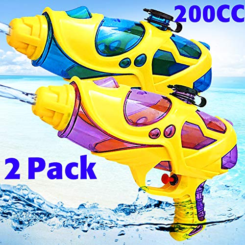 GBD Water Blaster Gun,2 Pack Water Squirt Guns 200 CC High Capacity 20 FT Shooting Distance Water Pistol Soaker Guns Toys for Kids Boys Toddlers Summer Outdoor Swimming Pool Water -