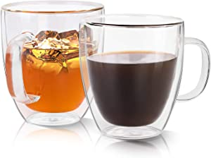 Growom Glass Coffee Mug, Double Walled Espresso Cup, Double Wall Insulated Coffee Cup with Handle, Clear Borosilicate Glass Mug for Latte, Cappuccino, Tea, Beverages, Ice Coffee, Set of 2, 16OZ