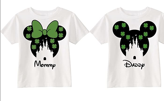 e9084b833 Amazon.com: Disney World Family Matching Vacation Shirts St. Patrick Four  Leaf Clover Hearts Mommy Daddy Trip Green Black White Minnie Mouse Mickey  Mouse: ...