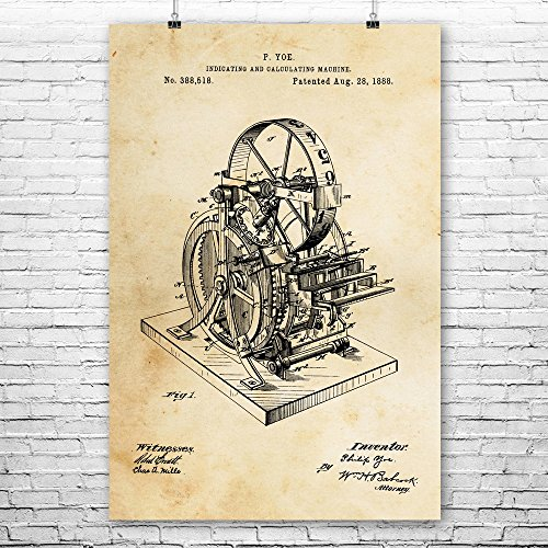 "Calculating Machine Poster Art Print, Calculator Poster, Accounting Poster, Adding Machine, Accountant, Cpa, Calculator Vintage Paper (24"" x 36"")"