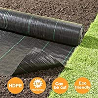 Goasis Lawn Weed Barrier Control Fabric Ground Cover Membrane Garden Landscape Driveway Weed Block Nonwoven Heavy Duty 125gsm Black (5FT x 300FT)
