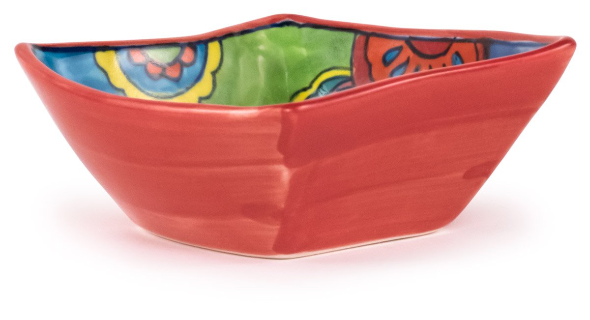 Hand-Painted Paisley Salsa Dip Bowl, Set of 2 - 4.75''Lx4.75''Wx2''H - Paisley