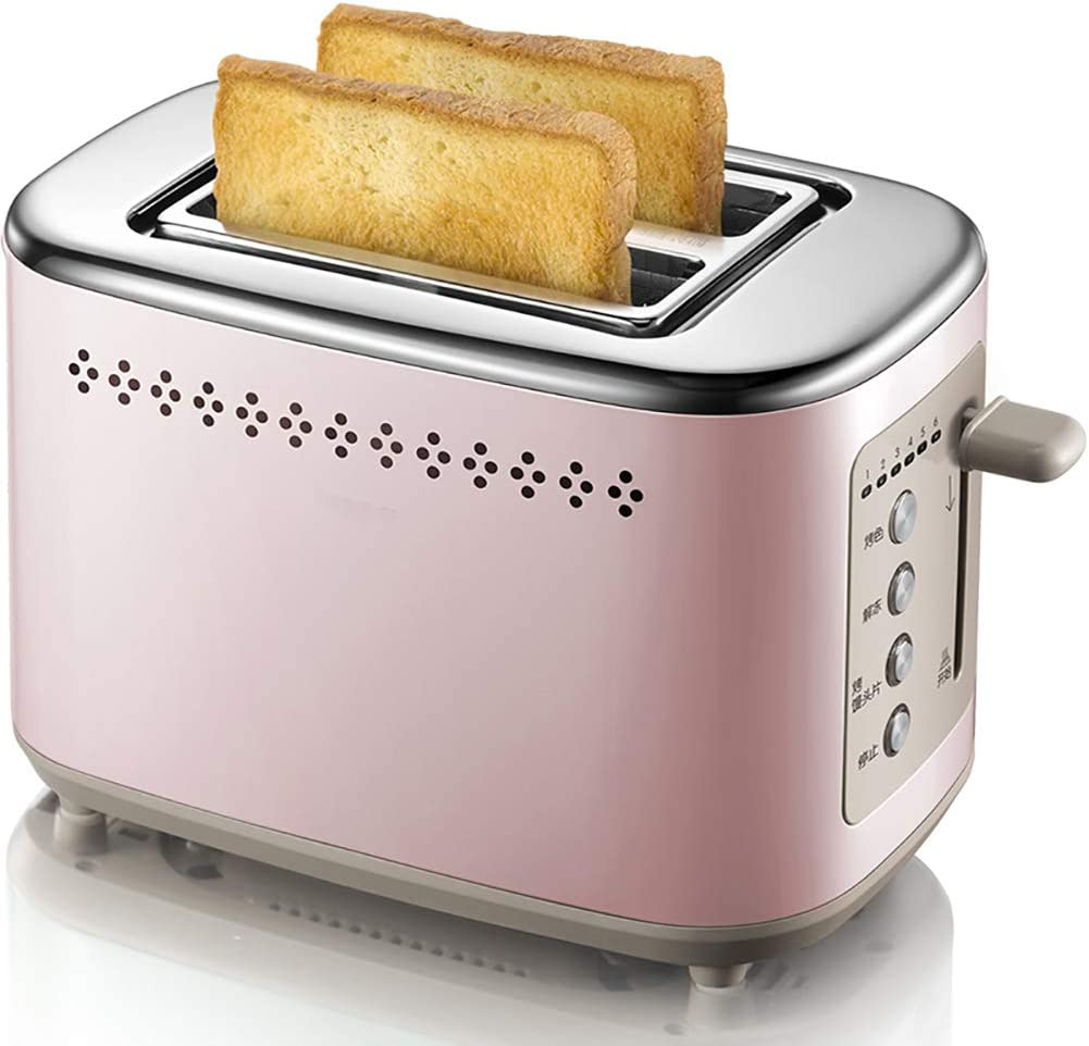 Toaster 2 Slice, Stainless Steel Toaster, 2 Slice Compact Toast Bread, with 6 Browning Settings Reheat Cancel Button, Removable Crumb Tray Small Toaster 730W