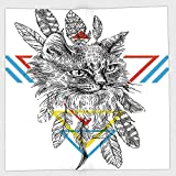 Cotton Microfiber Hand Towel,Feather,Ink Sketch Drawing Style Cat Portrait with Geometric Elements Triangles Boho Animal Decorative,Multicolor,for Kids, Teens, and Adults,One Side Printing