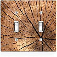 Wood Tree Stump on Wooden Old Vintage Background Pattern Double Light Switch Plate