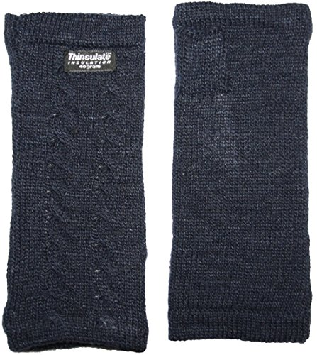 EEM knitted arm warmers DIANA made of 100% wool, Thinsulate lining, plait pattern, navy by EEM (Image #2)