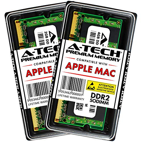 A-TECH for Apple 6GB Kit (1x2GB + 1x4GB) DDR2 667MHz PC2-5300 200-pin SODIMM for MacBook (Late 2007, Early 2008, Early 2009), MacBook Pro (Mid 2007, Early 2008), iMac (Mid 2007) - Memory RAM Upgrade