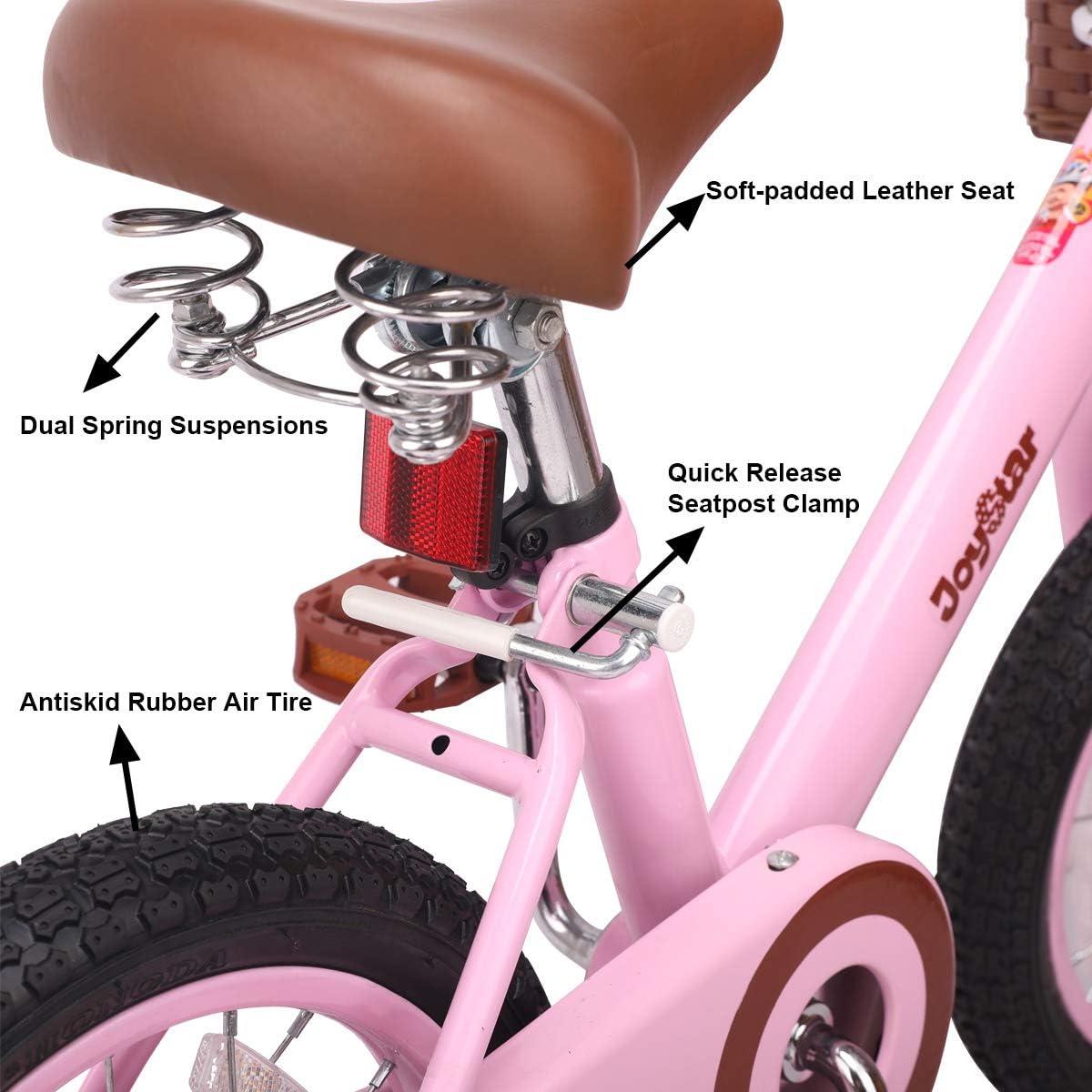 JOYSTAR 14 /& 16 Inch Kids Bike with Basket /& Training Wheels for 3-7 Years Old Girls /& Boys Ivory /& Pink