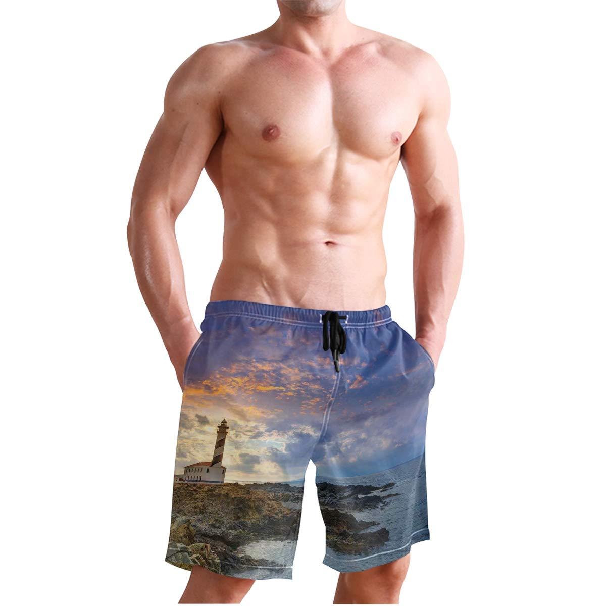 KVMV Captain On Ship with Wavy Ocean Cartoon Style Illustrat Quick Dry Beach Shorts