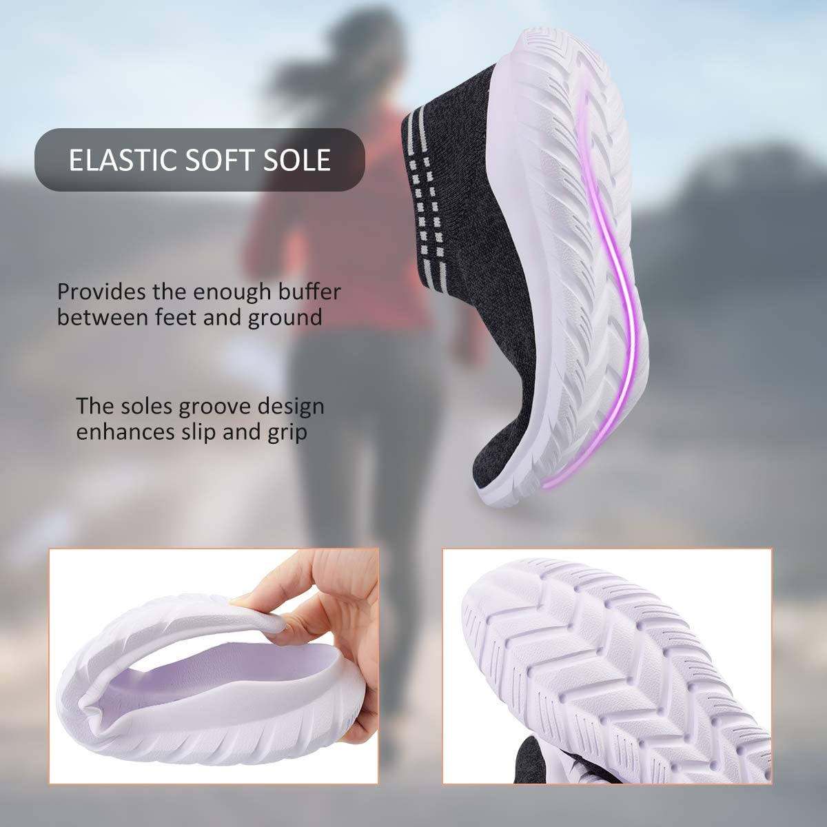 La Dearchuu Walking Shoes Women Slip On Sock Sneakers Mesh Running Shoes Casual Lightweight Knit Sock Shoes for Teen Girls Size 5.5-10.5