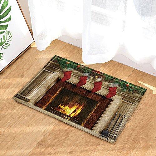 GoHeBe Christmas Decor Tree Fireplace with Xmas Sock for Kids Bath Rugs Non-Slip Doormat Floor Entryways Indoor Front Door Mat Kids Bath Mat 15.7x23.6in Bathroom Accessories by GoHeBe