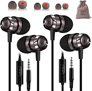 2 Pack Earbud Headphones with Microphone Wired Ear Buds for iPhone Android Earphones for Cell Phone mp3 Mac Laptop Bulk Set Plug in Corded headbuds mic with Carry Pouch and Extra Tips