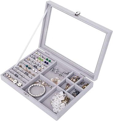IvyH Organizador De Joyeria,Estuche de Almacenamiento de la Bandeja de la exhibición de la joyería para el Collar, Relojes, Anillo, Pulsera, Pendiente, broches: Amazon.es: Joyería