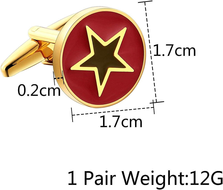 AmDxD Acier Inoxydable Boutons de Manchette pour Homme Or Rouge 5 /Étoile Rond Bouton Manchette Homme 1.7x1.7CM