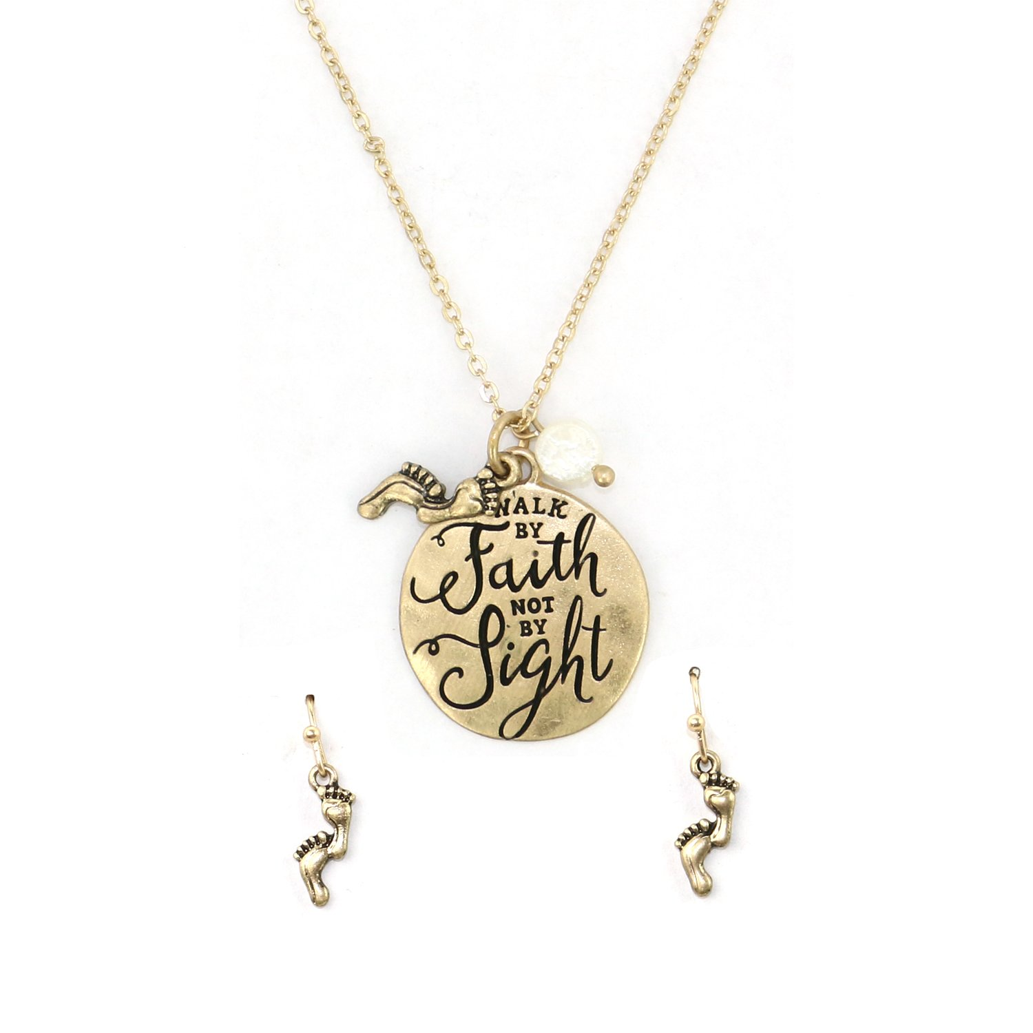 """Walk by faith not by sight"" Christian Pendant Necklace with Pearl and Earring Set"