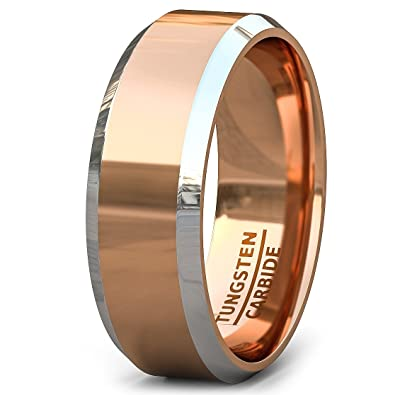 duke collections mens wedding bands two tone polished rose gold