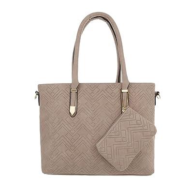 b2289425f6915 Ital-Design Damen-Tasche Mittelgroße Handtasche Schultertasche Kunstleder  Beige TA-L78