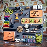 Shafa-10 European quality. Handmade Wooden Busy board, Clever Puzzles, Locks and Latches Activity Board (grey + orange + green)